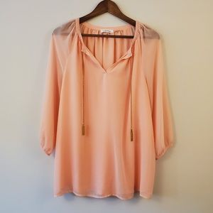 Calvin Klein peach blouse gold tassels size medium